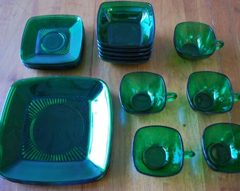 vintage luncheon service for five - forest green - Anchor Hocking - Charm Pattern - Midcentury - 1950's - Holiday Tableware