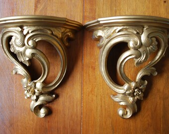 Vintage pair of SYROCO goldtone wall sconces - plate holders  - 1970 -  MidCentury - Hollywood Regency