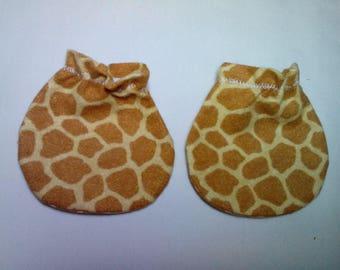 Giraffe Print Baby Mitts