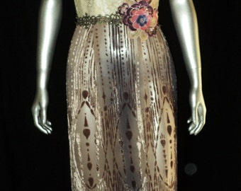 1920's One of  kind Handmade Red Carpet Gown All Period Laces and Textiles Edwardian Silk Velvet Skirt Metallic Lace Sequin Applique