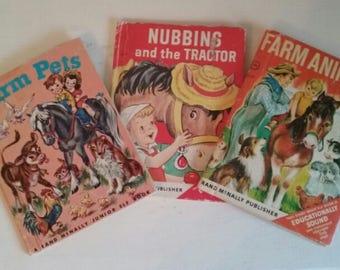 Vintage Children's Book Trio •  Farm Theme • 1950s • Rand McNally