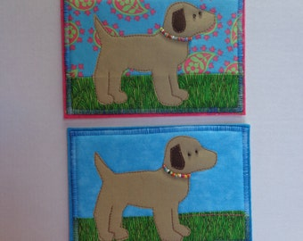 Fabric post card - Quilted art card - puppy dogs - Sale
