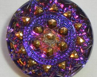 Geometric Sun Czech Glass Button