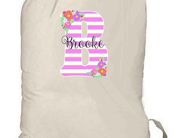 College Laundry Bag, Large Monogrammed Laundry Bag, Grad Gift, Graduation laundry tote, 22 x 33 Drawstring Backpack, Natural Canvas Bag