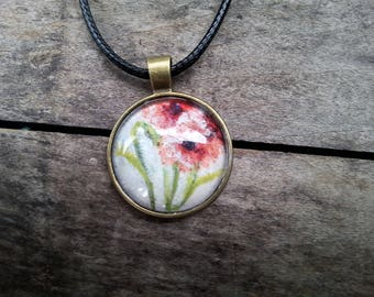 Hand Painted Poppy Flower Necklace