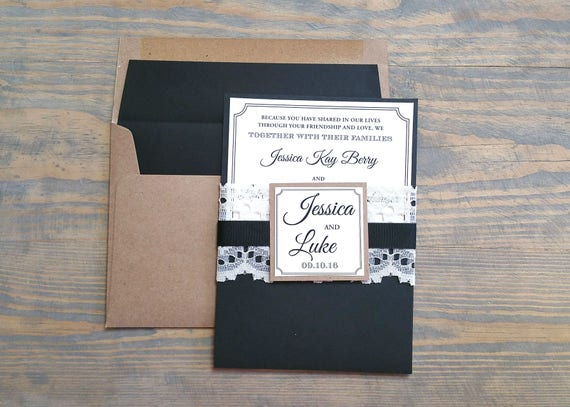 Black Kraft Wedding Invitation, Rustic Wedding Invitation, Kraft and Lace Wedding Invitation, Lace Wedding Invitation, Vintage Wedding