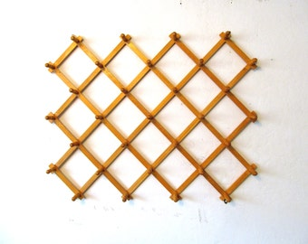 Vintage Folding Peg Rack, Accordion Wall Pegs, Large Size
