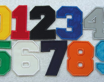 3 Inch Varsity/Letterman Numbers in 10 Color Choices Fabric Embroidered Iron on Applique Patch Made to Order