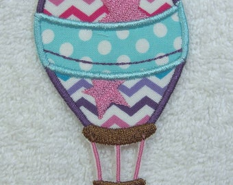 Hot Air Balloon Fabric Embroidered Iron on Applique Patch Ready to Ship