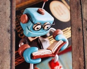 Professor Bot Bixbo Reading a Book Art Postcard Techie Gift Geeky Love Gift