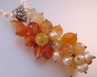 Vintage Faceted Carnelian & Pearl Cascading Drop Pendant Necklace Sterling Silver Fine Jewelry Jewellery