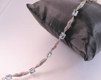 "Vintage 4ct Blue Topaz & Marcasite Link Bracelet Sterling Silver 7.5"" Jewelry Jewellery"