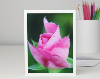 Pink Rosebud Photo Note Card, pastel pink rose flower photography notecard, all occasion stationery, a2 or a7 blank greeting card