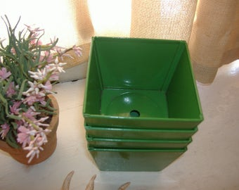 "Industrial Vintage MCM Green Metal Planters. Set of 4. Measure 3.5"" x 2.5"" Mid Century Steel Square w/ Drain Holes"