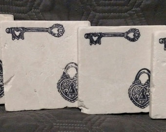 Heart Lock and Key Coasters