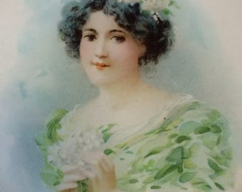 Antique Victorian Beautiful Lady Pastel  Stovepipe Flue Cover