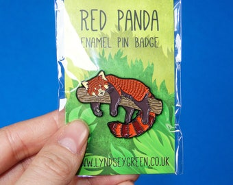 Red Panda Illustration Soft Enamel Pin Badge