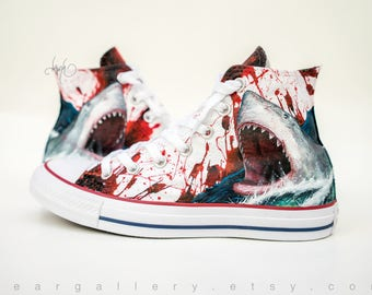 Custom Converse Shoes - Hand Painted Custom Great White Shark