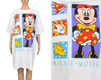 Deadstock Vintage 90s MINNIE MOUSE Oversize T-shirt Novelty Graphic Print Kawaii Kitsch Tee Shirt Loose Baggy Cotton T-shirt Dress One Size