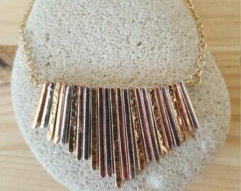 New Listing Sale...Tri Color Copper Gold & Silver Fringe Necklace. Fringe Necklace. Cleopatra Necklace. Israel Necklace. Tri Color Gold