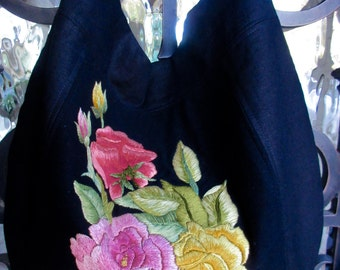 Black Linen Handbag, Roses Embroidery