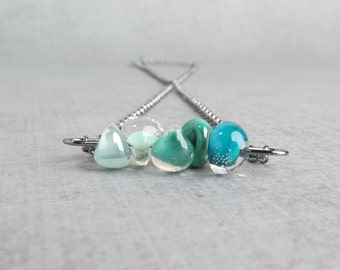 Sterling Silver Green Necklace, Bluegrass Necklace, Dark Aqua Necklace, Pearly Seafoam Necklace Green, Oxidized Sterling Necklace Bluegrass
