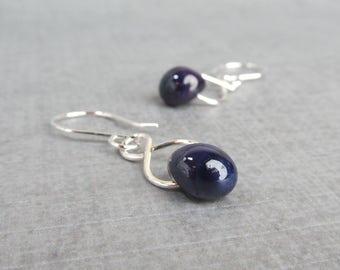 Aubergine Purple Earrings, Purple Lampwork Earrings, Earrings Purple Glass, Sterling Silver Earrings, Dark Purple Dangle Earring Silver