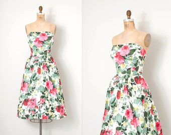 vintage 1950s dress / rose print floral 50s party dress / Will Steinman / small s