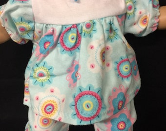 Doll Clothes for 15 Inch Dolls, Handmade to fit dolls similar to American girl Bitty baby,  Colorful Crazy Flower Pajamas