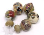 Artisan lampwork beads  -  Neutral Eclectics  -  ivory, cream, sage, hazelnut, magenta, raku frit, loose glass beads, organic lampwork bead
