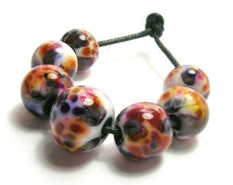 Red/Purple/White Dappled Beads  - Handmade Lampwork Glass Beads