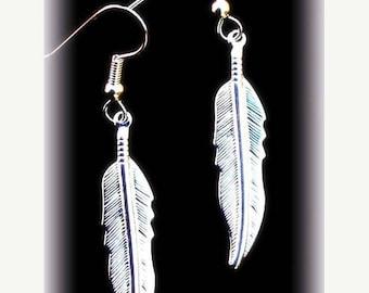 EPIC SALE NATIVE Pride Silver feather earrings, dangle earrings, tribal, Boho, Native, silver or gold feather earrings
