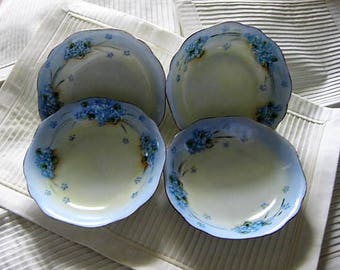 Forget Me Not Fruit Bowls, Antique Forget Me Not Bowls, Silesia China Painted by M. Riepley, Hand Painted Forget Me Not Bowls,Forget Me Nots