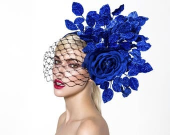 Royal blue fascinator, kentucky derby hat, derby headband, Vintage headpiece