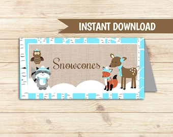 Winter Woodland Animals Food Tent Cards or Buffet Labels Teal    Printable File with Editable Text or Blank, INSTANT DOWNLOAD 069