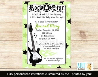 Green Rock Star Music Guitar Baby Shower Invitations Print Your Own Digital JPG File or Printed Rocker Baby Shower Invitations