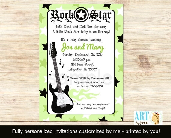 Green rock star music guitar baby shower invitations print your own il570xn filmwisefo