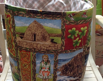 Fabric Storage Basket,Bathroom Storage,Irish Themed Home Storage