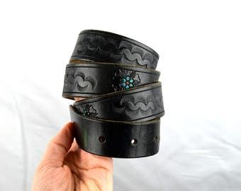 Vintage Black Floral Tooled Leather Belt - Size 34