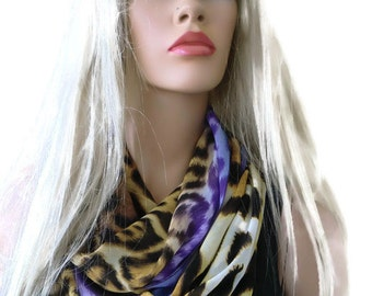 Chiffon infinity scarf,Leopard/animal print ,Blond and purple animal print chiffon infinity Scarf/ cowl Instant gratification