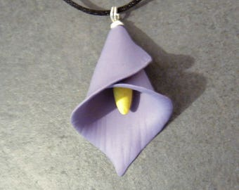 Lavender Purple Calla Lily Pendant on Black Cord Necklace - Silver Plated - Polymer Clay - Ready to Ship - Bridesmaid Wedding Gift for Her