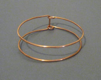 Copper Frame Bangle - Minimalist Style - 7th Anniversary Gift - Made to Order - Choose Your Size - 14 Gauge