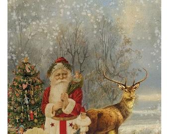 Vintage Christmas Woodland Santa and Deer Printable Collage Digital Download
