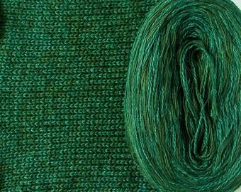 GREEN SILK HEATHER -- Sport Weight -- Silk/Cotton/Merino yarn (100 gr /320 yards)