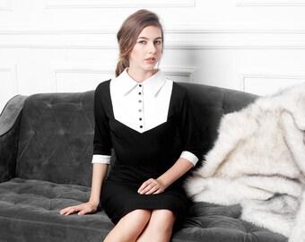 calla little black dress white contrast collar pencil shape custom