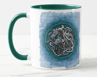 Celtic Sea Horse Ceramic Art Mug
