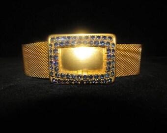 Vintage Gold Tone Metal Mesh Belt With Blue Rhinestones Buckle XS