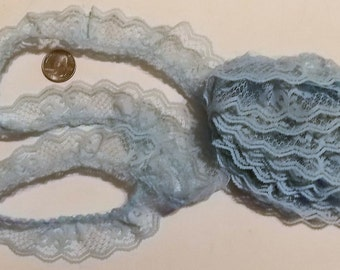 """3 Yds, 1 1/4"""" W, Light Blue Ruffled Lace, 1970s Lace, Collectible, French Country, Craft & Sewing Supplies, Doll Lace, DIY Lace Trim"""