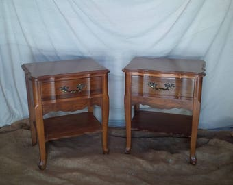 Nightstands French Provincial PAIR of Vintage Wood Accent Tables Custom PAINT to Order Poppy Cottage Painted Furniture