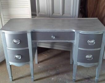 Vanity Ladies Desk Vintage Bow Front Mahogany Poppy Cottage Vintage Furniture Mid Century Custom PAINT to ORDER